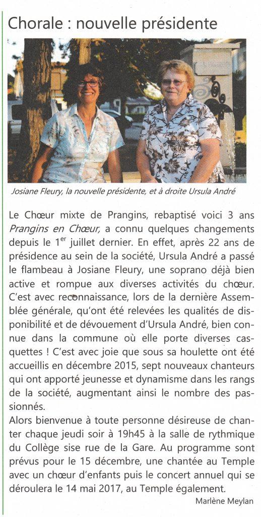 Article paru dans la gazette de Prangins, automne 2016